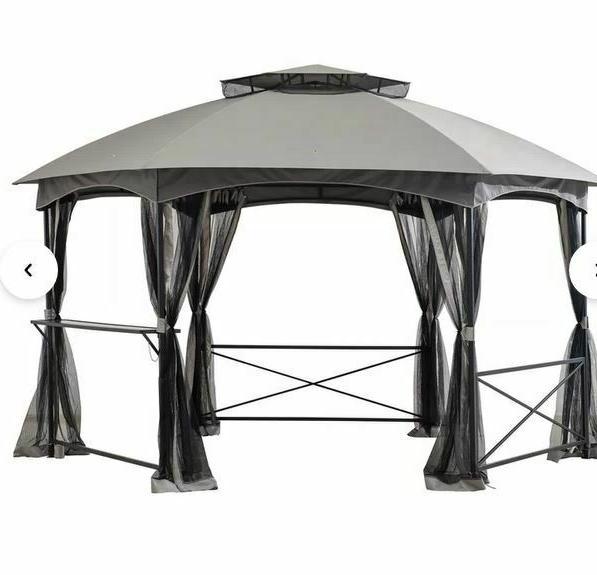 Sunjoy 15 W x Steel roof,Mesh