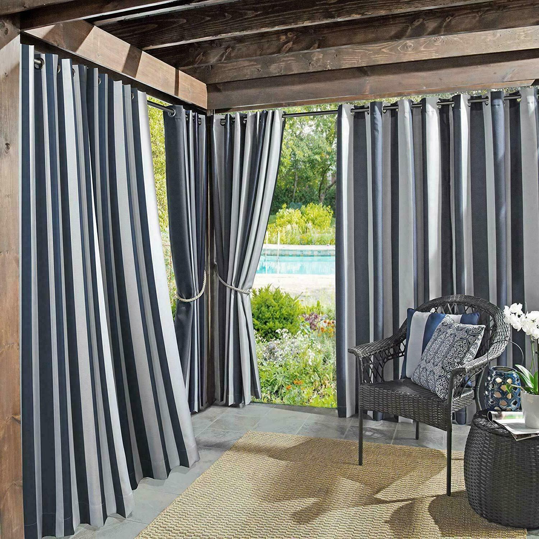 cabana stripe curtain uv protectant for pergolas