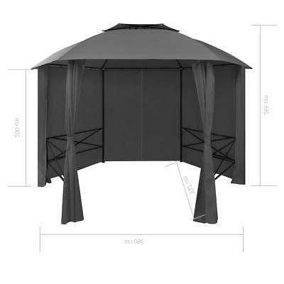 vidaXL Garden Pavilion Tent Hexagonal 11.8'x8.7'