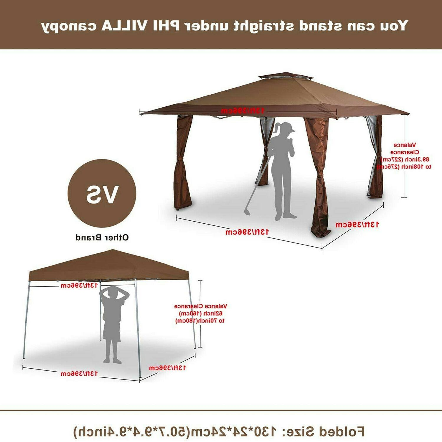 Gazebo Awning Pop-up Outdoor Canopy Tent For Garden Party 13x13ft