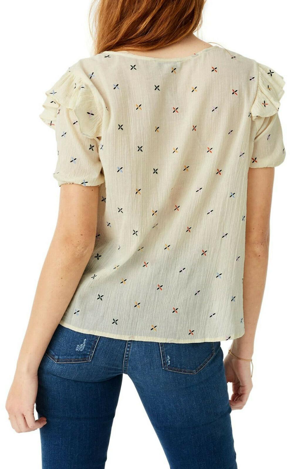 Madewell Gazebo top ruffle sleeves xs 0