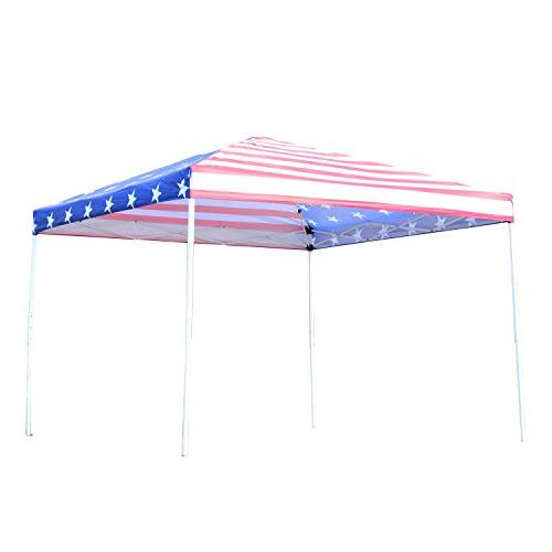 Outsunny 10' x 10' Tent w/ Walls - American Flag