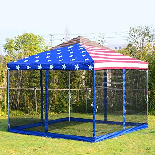 Outsunny 10' 10' Pop-Up Canopy Shelter Tent - American