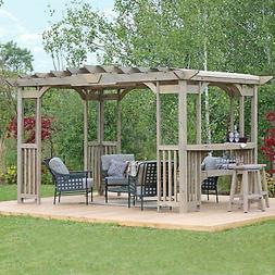Large Outdoor Cedar Wood 14' x 10' Pergola Gazebo Pavilion w