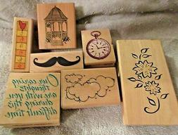 LOT OF 7 ASSORTED RUBBER STAMPS -NEVER USED -moustache, gaze