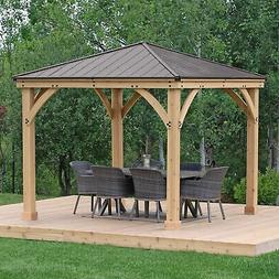Yardistry Meridian 10 x 10 Gazebo Outdoor Living Yard Cedar