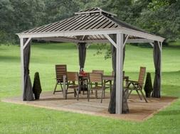 Sojag Messina 10X10 Steel Roof Sun Shelter With Netting, NEW