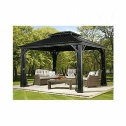 Messina Galvanized Steel Roof Sun Shelter in Dark Gray with