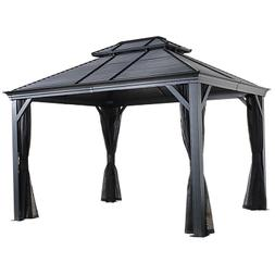 Mykonos II Double Roof Hardtop Gazebo, 10 ft. x 12 ft. Dark