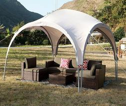 Outdoor Gazebo Heavy Duty Steel Frame Beige Canopy BBQ Tent