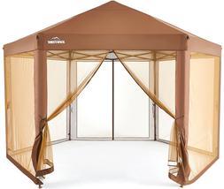 Outdoor Patio Hexagon Gazebo 6.6 x 9.2' Pop Up Canopy Garden