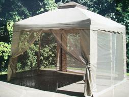 Outdoor Pop up Gazebo with Netting 10' x 10' Canopy Backyard
