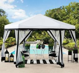 Portable Gazebo Pop Up White Soft Top Canopy Steel Frame Hex