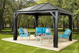 Sojaq 12' x12' Metal Sun Shelter Steel Roof Gazebo Shade Can