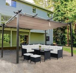 Outsunny Steel Outdoor Backyard Patio Canopy Cover - Brown 1